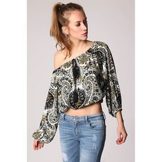 Floral Chiffon Off The Shoulder Long Sleeve Crop Top Hoodies For Sale, Faux Leather Pants, Floral Chiffon, Blue Abstract, Free Clothes, Long Sleeve Crop Top, Off The Shoulder, Pants For Women, Crop Tops