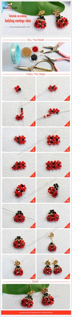 Tutorials on making a pair of lady bug of crystal beads earrings. Simple Earrings, Simple Jewelry, Bead Earrings, Making Jewelry For Beginners, Jewelry Making Tutorials, Bead Jewellery, Seed Bead Jewelry, Swarovski Crystal Earrings, Crystal Beads