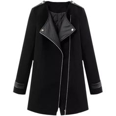 Blackfive Md-long Leather Panelled Padded Woolen Coat (435 HKD) ❤ liked on Polyvore featuring outerwear, coats, jackets, coats & jackets, blackfive, long black coat, black coat, long wool coat, wool coat and quilted leather coat
