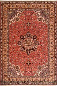 Tabriz Medallion Hand Knotted Wool & Silk Rug