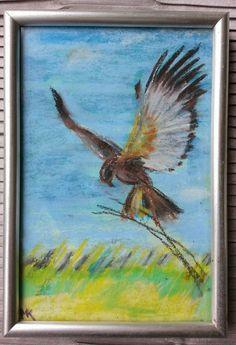 miniature painting bird 10 x 15 cm. soft pastels