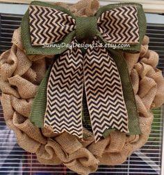 Burlap Wreath with Double Chevron Bow