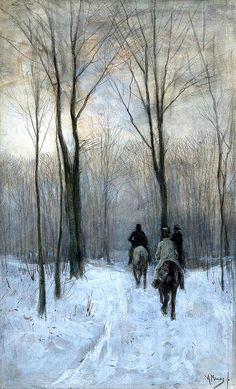 """Riders in the Snow of the Woods at The Hague"" by Anton Mauve"