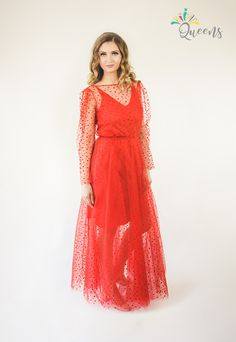 Product Page, Queens, Dresses With Sleeves, It Is Finished, Formal, Long Sleeve, Red, How To Make, Style