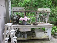 Potting Bench Made With Old Doors | Potting Benches