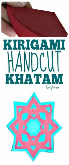Use origami paper to make this Kirigami Khatam. Kirigami is a variation of origami that includes cutting of the paper. Teaching Kids, Kids Learning, Learning Activities, Learn Arabic Online, Ramadan Crafts, Kids Crafts, Arabic Lessons, Holidays Around The World, Learning Arabic