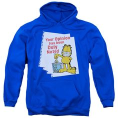 "Checkout our #LicensedGear products FREE SHIPPING + 10% OFF Coupon Code ""Official"" Garfield / Duly Noted-adult Pull-over Hoodie-royal Blue-sm - Garfield / Duly Noted-adult Pull-over Hoodie-royal Blue-sm - Price: $49.99. Buy now at https://officiallylicensedgear.com/garfield-duly-noted-adult-pull-over-hoodie-royal-blue-sm"