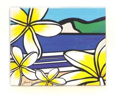Sarah C Art Blocks : Frangipani – www.themotelshop.co.nz Sarah C, New Zealand Art, Coastal, Art Prints, Inspired, Artist, Flowers, Inspiration, Design