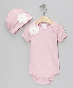 Another great find on #zulily! Rose & Ivory Floral-Accent Bodysuit & Beanie - Infant #zulilyfinds
