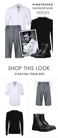 """""""P e r f e c t Pinstripes: H i s Way"""" by nonniekiss on Polyvore featuring Stone Rose, Giorgio Armani, Who What Wear, men's fashion and menswear"""