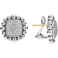 Lagos Caviar Spark Diamond Square Earrings ($3,400) ❤ liked on Polyvore featuring jewelry, earrings, 14 karat gold earrings, sparkle jewelry, lagos earrings, post earrings and square diamond earrings