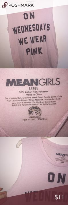 """Mean girls """"on Wednesdays we wear pink"""" shirt Mean girls """"on Wednesdays we wear pink"""" muscle shirt Tops Muscle Tees"""