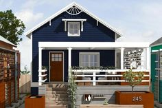 Way the porch wraps, angle of porch room, privacy plants, wee awning over attic window.  Download this free tiny house plan from FreeGreen.com