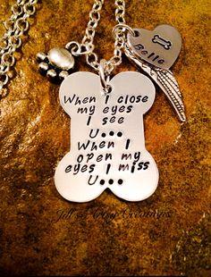 Pet Memorial Necklace In Memory of Pet by JillsArtsyCreations Awe! I love this one. Miss my fur babies Kip and Sadie!