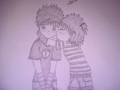 Cute Anime Emo Couple Kiss by EmoAliKat.deviantart.com on @deviantART