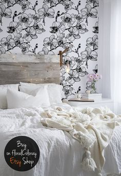 Elegant black and white orchids wallpaper || Floral || Contrastive || Outlines || Self adhesive #78