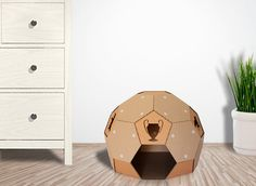 Soccer Cardboard Cat House is sustainable cat bed, suitable for your home interior, build from cardboard - favorite material for your Kitty. Cardboard Cat House, Something Beautiful, Soccer, Kitty, Cats, Interior, Design, Home Decor, Little Kitty