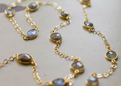 Labradorite Bezelled Gemstone Chain Link Necklace - Gold Plated over Sterling Silver on Etsy, $85.00