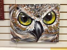 acrylic owl close up painting by Ed Bell on Etsy, $2,000.00