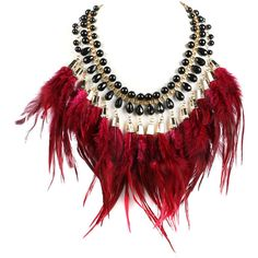 Wine Red Feather Tassel Stone Statement Necklace ($20) ❤ liked on Polyvore featuring jewelry, necklaces, accessories, jewels, red, red statement necklace, feather necklace, red stone jewelry, stone jewellery and stone necklace
