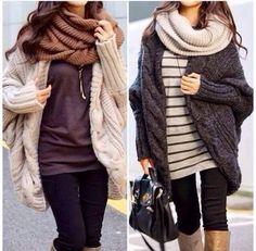 Klasse Outfits, schick und trotzdem sooo gemütlich, hab selbst so eine Jacke :)