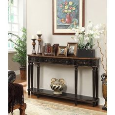 Christopher Knight Home Apperson Black 4-drawer Console Table - 16808742 - Overstock.com Shopping - Great Deals on Christopher Knight Home Coffee, Sofa & End Tables