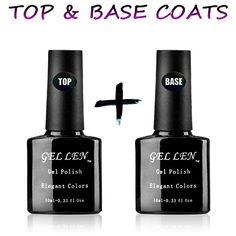 Gellen UV/LED Soak Off Gel Nail Polish Top Coat and Base Coat Set - 10ml Each >>> For more information, visit image link.