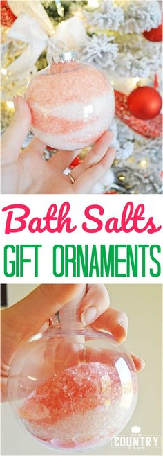 Epsom Bath Salts Gift Ornaments craft at The Country Cook! That perfectly easy homemade gift that is perfect for that hard to shop for person! #Christmas #gifts #easy #holiday #homemade #handcrafted