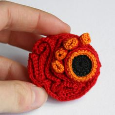 crochet red brooch