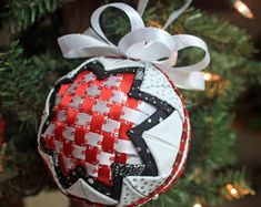 Quilted Christmas Ornament with Red and White Ribbon Woven Center, Folded Fabric Handmade Holiday Ornament Includes Gift Box and Tag Quilted Fabric Ornaments, Sequin Ornaments, Quilted Christmas Ornaments, Felt Christmas Decorations, Handmade Ornaments, Handmade Christmas, Christmas Crafts, Handmade Gifts, Christmas Ideas