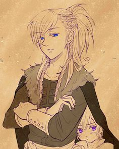 Sigurd with little Eiríkur (head-canon names for Norway and Iceland, respectively) - Artist unknown