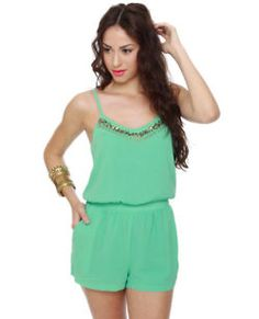 Lucca Couture  Embellish-ous Mint Green Romper