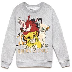 """A sweatshirt featuring """"The Lion King™"""" characters. Round neckline. Long raglan sleeves. Ribbed trim. Fleece-lined. Knit. Medium weight. DETAILS: Officially li…"""