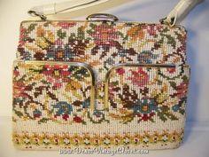 Vintage 60s Needlepoint Purse Floral