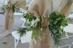 "Set of 6 - Burlap Chair Sashes - 4"" x 108"" - Perfect for Rustic Wedding, Shabby Chic Wedding. $21.00, via Etsy."