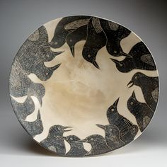 Melissa Greene brings her imagery of the world alive on her hand crafted pottery. The Smithsonian Craft Show is April Ceramic Pots, Ceramic Clay, Ceramic Pottery, Pottery Art, Earthenware Clay, Sgraffito, Deer Isle Maine, Crow Art, Pottery Designs