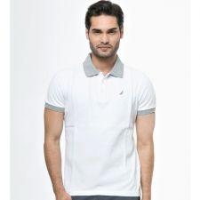 Бяла поло тениска със сиви акценти от Nautica