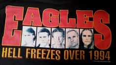 Original EAGLES Black Large Double Sided 1994 Hell Freezes Over TOUR SHIRT