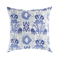 Our Ikat Dream Pillows are just that—a true bohemian dream. Perfect for decorating an eclectic sofa or a luxurious bed, these pillows are plump and luscious, with a gentle ikat-style pattern that is bo...  Find the Ikat Dream Pillow in Blue, as seen in the Dressing Up Boho Collection at http://dotandbo.com/collections/dressing-up-boho?utm_source=pinterest&utm_medium=organic&db_sku=99195