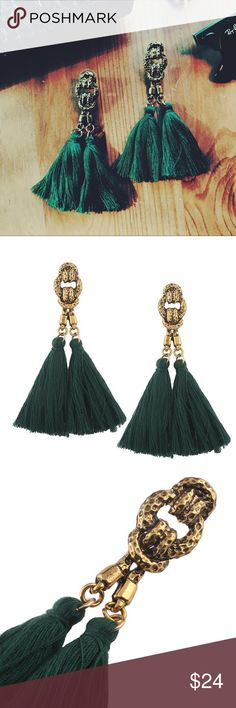"""🆕 ANTIQUE TASSEL EARRINGS Stunning emerald green and gold tassel earrings! Features a unique antique knotted design. So chic and on trend! Lightweight and comfortable. Imported. 3"""" in length Evette Encounters Jewelry Earrings"""