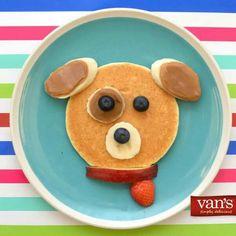 pancake for kids Puppy Pancake with Peanut Buttered Banana Slices and Fresh Fruit! Cute Snacks, Cute Food, Yummy Food, Pancake Art, Pancake Ideas, Food Art For Kids, Food Decoration, Food Crafts, Food Humor