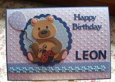 Glückwunschkarten - Geburtstagskarte mit Teddy ( Wunschnamen) - ein Designerstück von Wollzottel bei DaWanda Fun Cards, Kids Cards, Baby Cards, Marianne Design Cards, Birthday Cards, Happy Birthday, Punch Art, Handmade Cards, Cardmaking