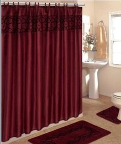 4 Piece Bathroom Rug Set/ 3 Piece Burgundy Flocking Bath Rugs with Fabric Shower Curtain and Matching Mat/rings... - List price: $69.99 Price: $28.99 + Free Shipping