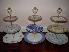 Vintage Musings Of A Modern Pinup: How To Make a 3 Tiered Cake Stand Dessert Aux Fruits, Plate Stands, Diy Cake, Do It Yourself Home, Decoration Table, Cake Plates, Afternoon Tea, Tea Party, Tea Cups