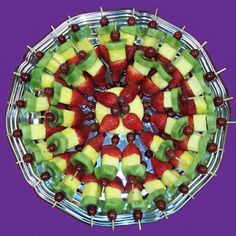 "Fruit Tray Displays | For the adults I also have ""salad on a stick"" with a homemade pesto ..."