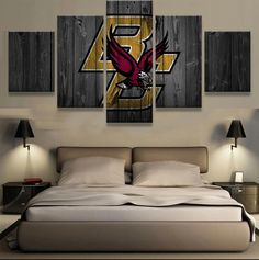 Boston College Eagles NCAA Football 5 Panel Canvas Wall Art Home Decor