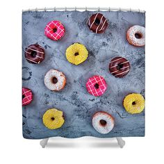 Oksana Ariskina Shower Curtain featuring the photograph Glazed Donuts by Oksana Ariskina #OksanaAriskina #OksanaAriskinaFineArtPhotography #Artworks #FineArtPhotography #HomeDecor #FineArtPrints #FineArtAbstract #Donut #Sweet #Colorful #ArtForSale #concrete #Food #ShowerCurtain
