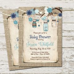 Rustic Baby Shower Invitation Burlap Invite Mason Jar Boy