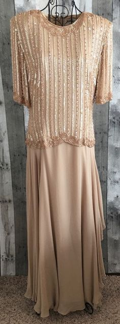 Jovani Sequin Beaded Gown Dress Faux Pearl 100% Silk Lined Short Sleeve Size12 #Jovani #Gown