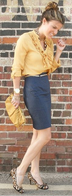 Outfit Posts: outfit post: mustard crepe blouse, denim pencil skirt, leopard heels